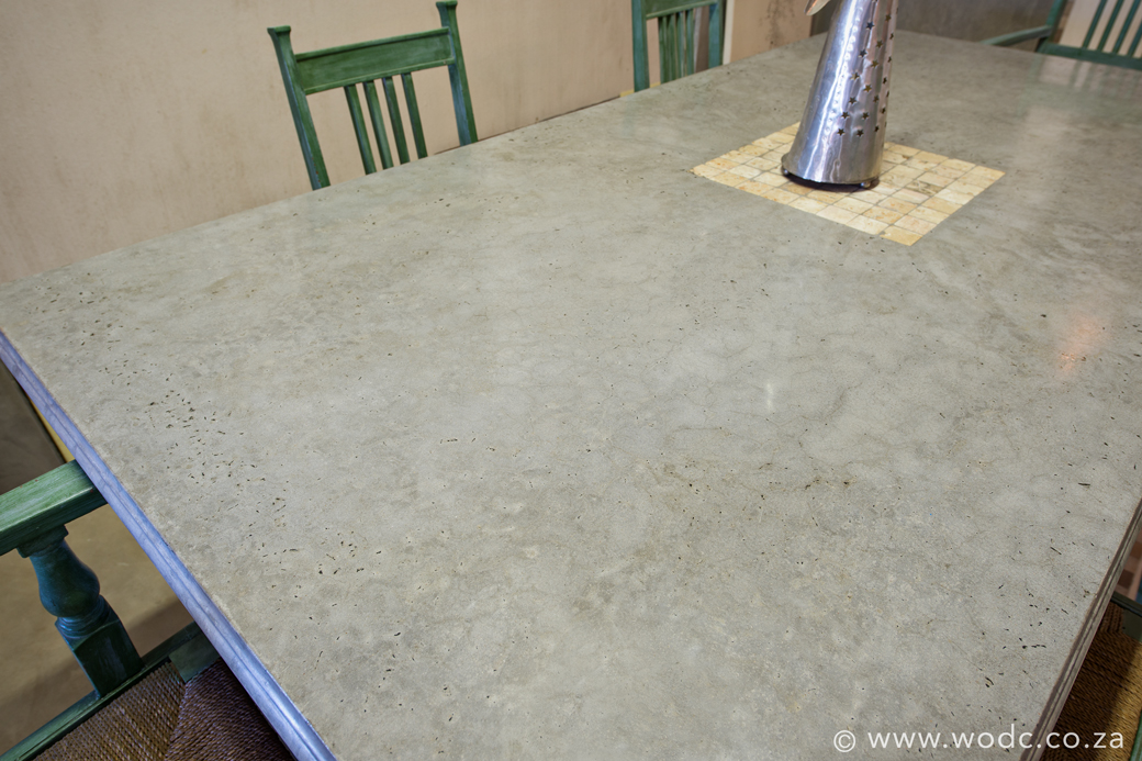 Architectural concrete; Polished concrete table; World of Decorative concrete; Stucco Italiano Free State
